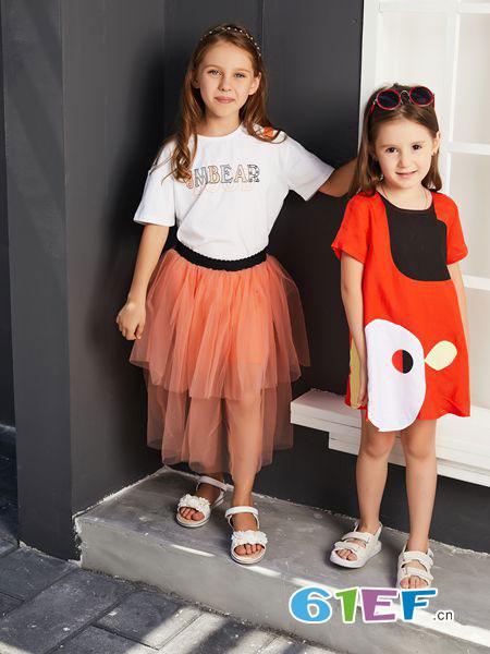 杰米熊童装品牌2019?#21512;?#30701;裙套装气质款休闲两件套
