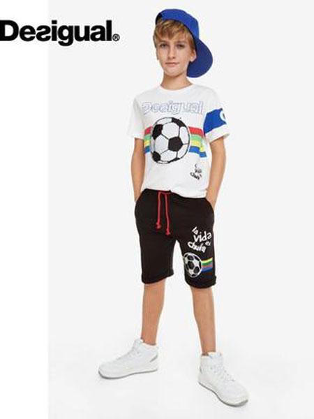 Desigual童装品牌2019春夏足球双面亮片T恤衫白