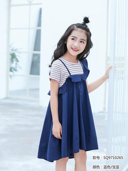 图零钱 TUTU Tips童装品牌2019春夏学院风假2件吊带连衣裙