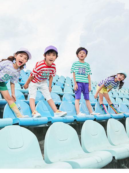 卡尔菲特童装品牌2019春夏海军服T恤中裤韩版套装