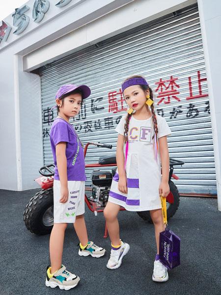 卡尔菲特童装品牌2019春夏印花洋气公主裙夏装潮童装背心裙