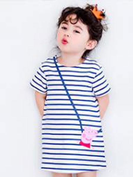 童年依柜童装品牌2019春夏条纹纯棉短袖体恤衫