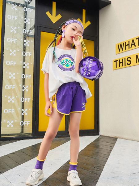 山西卡儿菲特童装品牌2019春夏流苏印花短袖t恤女宽松百搭韩版套装