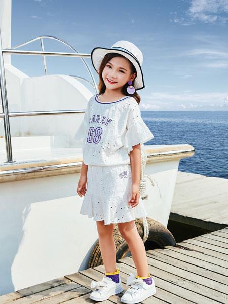 山西卡儿菲特童装品牌2019春夏流苏印花短袖t恤女宽松百搭韩版