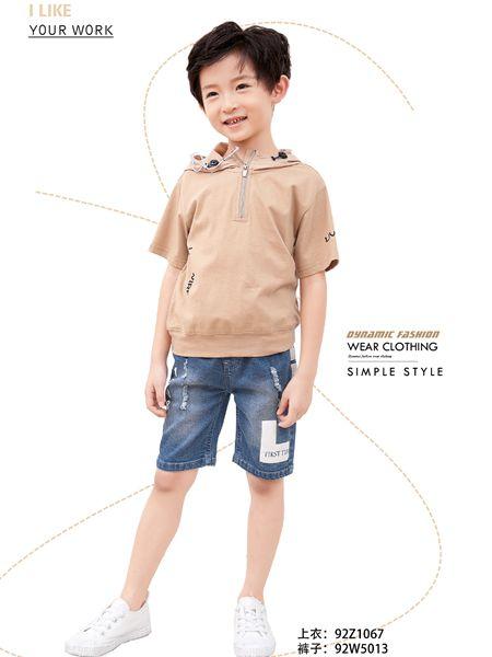 小鬼当家童装品牌2019春夏拼接休闲创意纯色短袖t恤