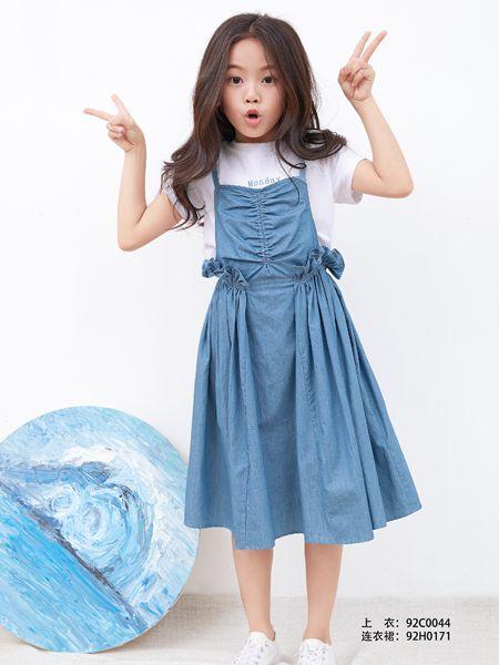小鬼当家童装品牌2019春夏收腰吊带高腰连衣裙背带裙