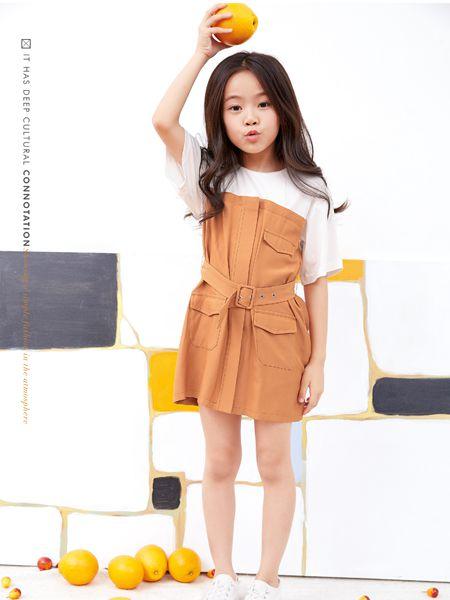 小鬼当家童装品牌2019春夏圆领短袖拼接绑带收腰假两件连衣裙