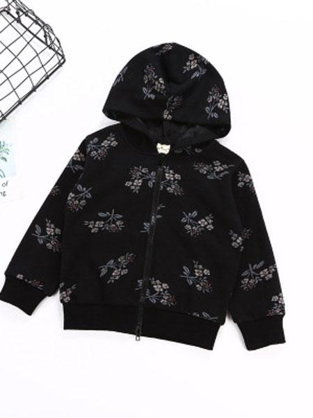 华慧达童装品牌2019春夏印花上衣帽长袖外套