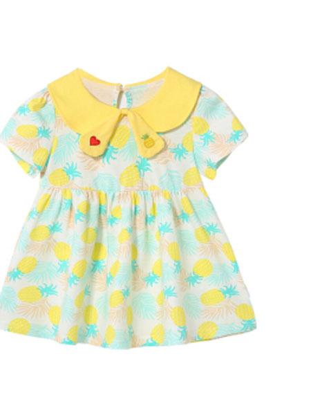 杰里贝比童装品牌2019春夏纯棉女宝宝娃娃领连衣裙