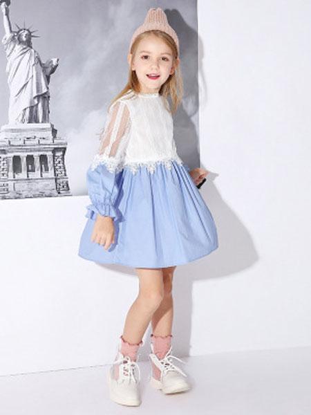 米奇丁当童装品牌2019春夏拼接蕾丝连衣裙