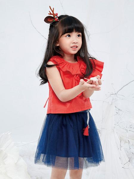DIZAI童装品牌2019春夏短袖 时尚公主韩版红色t恤娃娃衫中大童宽松