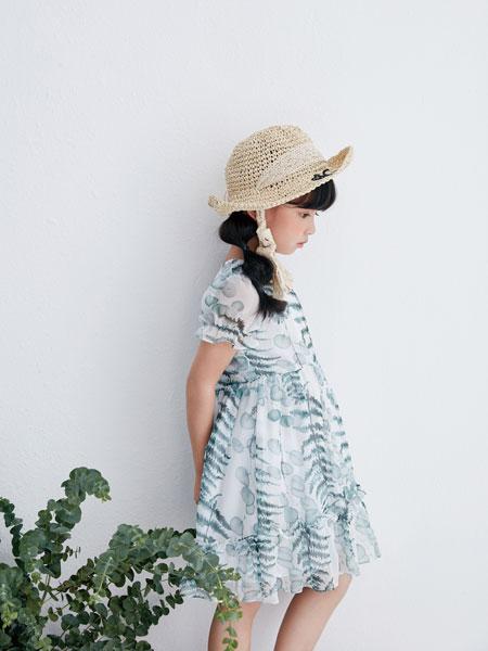 DIZAI童装品牌2019春夏印花雪纺连衣裙