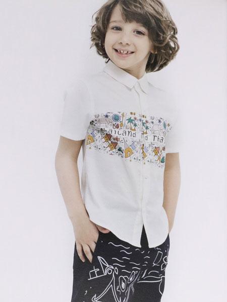 dishion的纯童装品牌2019?#21512;?#20241;闲舒适简约 弹力修身短袖衬衫