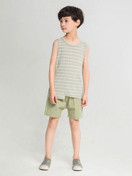 dishion的纯童装品牌2019春夏背心条纹男童装打底纯色上衣
