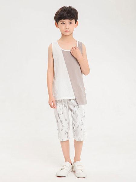 dishion的纯童装品牌2019春夏新款无袖薄款背心宽松纯色上衣