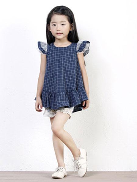 dishion的纯童装品牌2019春夏飞袖荷叶边牛仔棉连衣裙