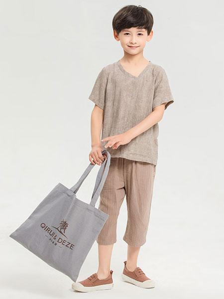dishion的纯童装品牌2019春夏纯色V领毛边亚麻短袖t恤