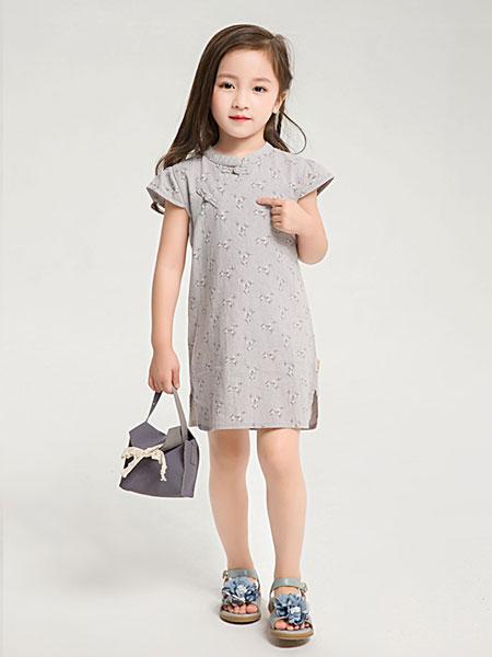 dishion的纯童装品牌2019春夏新款复古童装旗袍连衣裙纯棉