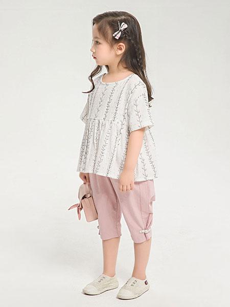 dishion的纯童装品牌2019春夏新款女童纯棉娃娃衫上衣