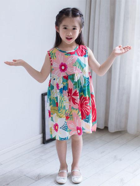 dishion的纯童装品牌2019春夏韩版儿童印花连衣裙薄款女童纯棉无袖背心裙
