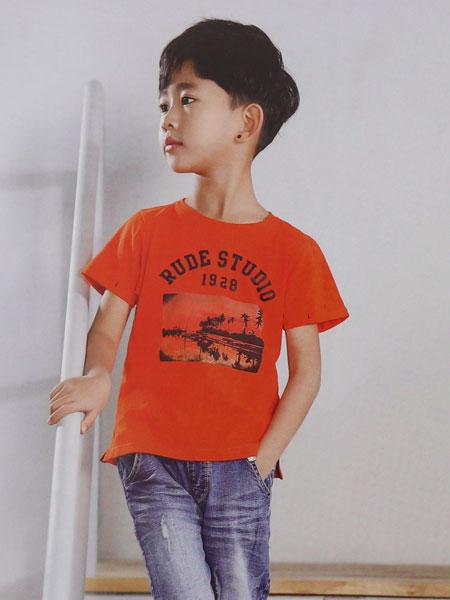 dishion的纯童装品牌2019春夏纯棉舒适圆领宽松半袖T恤