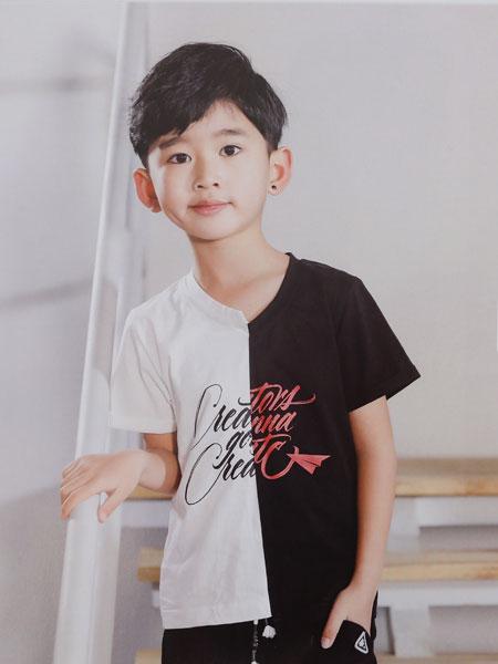 dishion的纯童装品牌2019春夏男童短袖纯棉休闲T恤儿童拼色t恤