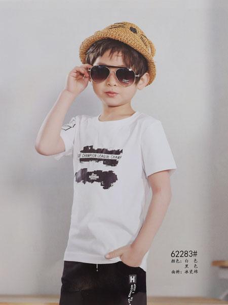 dishion的纯童装品牌2019春夏新款短款韩版潮可爱半袖宽松百搭上衣