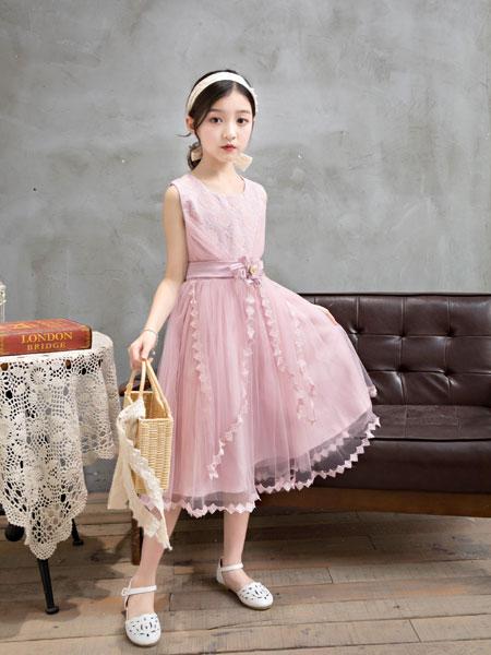 逗龙王子童装品牌2019春夏时髦公主裙女孩蓬蓬网纱裙子