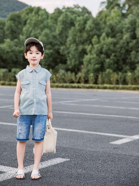 逗龙王子童装品牌2019春夏圆领翻领短袖衬衫