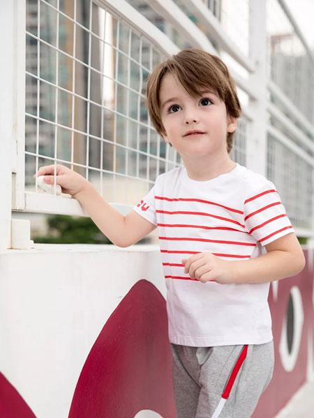 Babe Buddie宝贝巴迪童装品牌2019春夏条纹显瘦文艺范短袖T恤