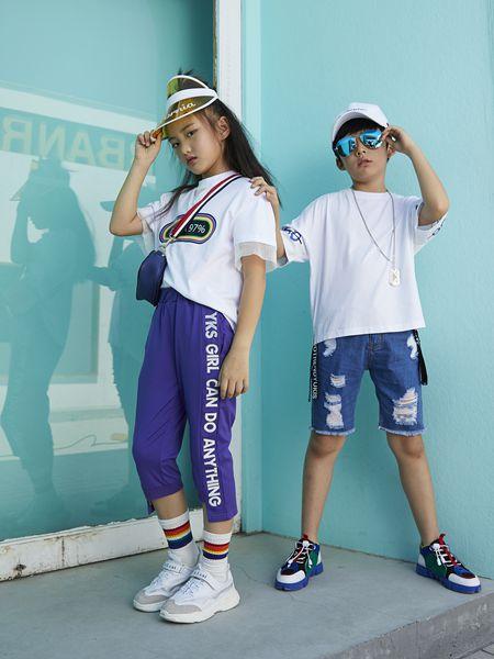 YukiSo童装品牌2019春夏韩版宽松纯色圆领五分袖潮T恤