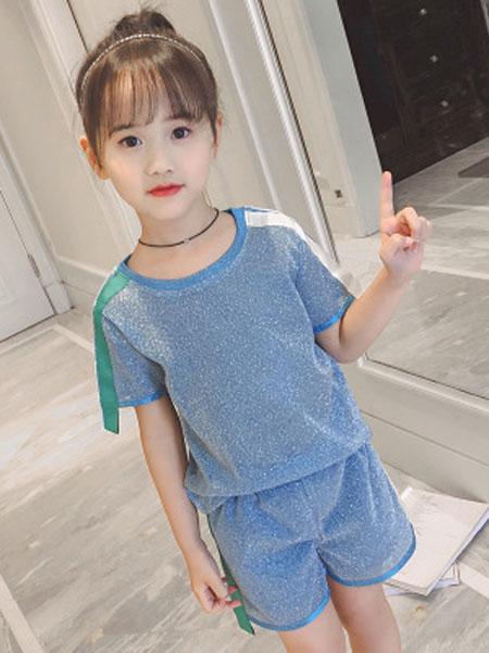 布E乐童童装品牌2019春夏时髦套装洋气衣服儿童短袖韩版两件套潮
