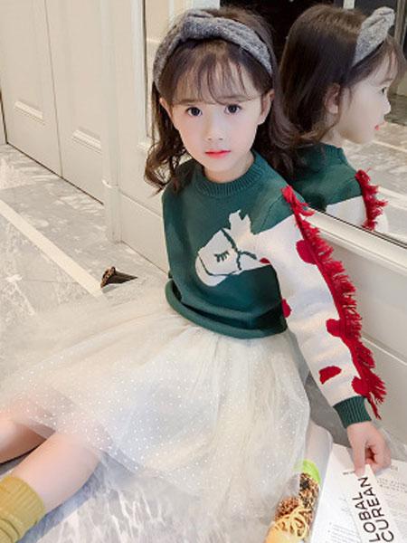 布E乐童童装品牌2019春夏洋气针织衫蓬蓬纱裙两件套