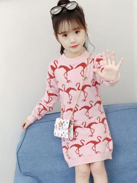 布E乐童童装品牌2019春夏韩版洋气女孩时尚毛衣裙两件套