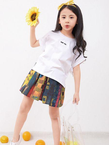 小鬼当家童装品牌2019春夏韩版立体字母百搭宽松短袖T恤