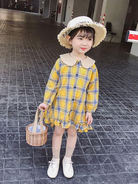 唯顶诺童装品牌2019春夏韩版宝宝公主裙娃娃领长袖儿童裙子