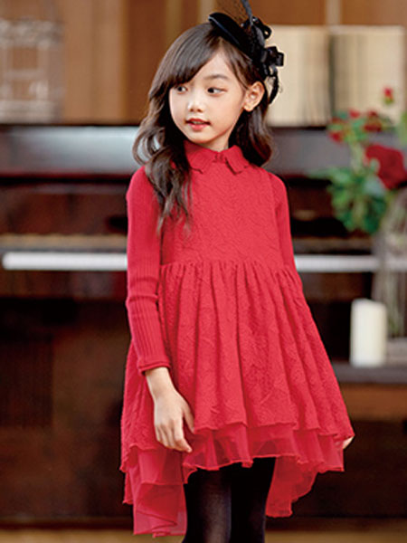 德蒙斯特(河南)童装品牌2019春夏显瘦中长款双排扣修身呢子大衣