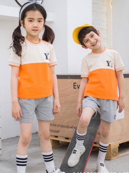 哈利欧童装品牌2019春夏短袖校服套装男女儿童运动服