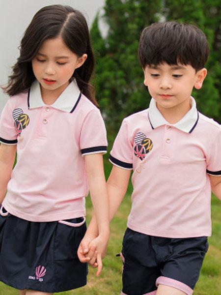 哈利欧童装品牌2019春夏运动套装学院纯棉两件套潮