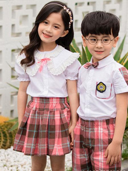 哈利欧童装品牌2019春夏纯棉短袖套装合唱服班服小学生学院风