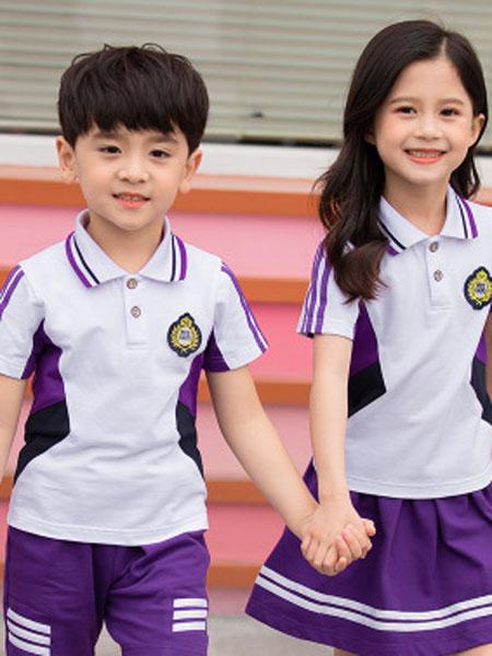 哈利欧童装品牌2019春夏班服定制纯棉英伦风套装