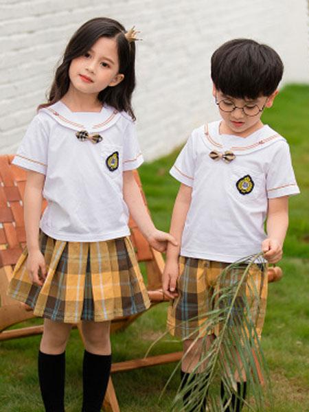 哈利欧童装品牌2019春夏短袖套装纯棉中小学生班服