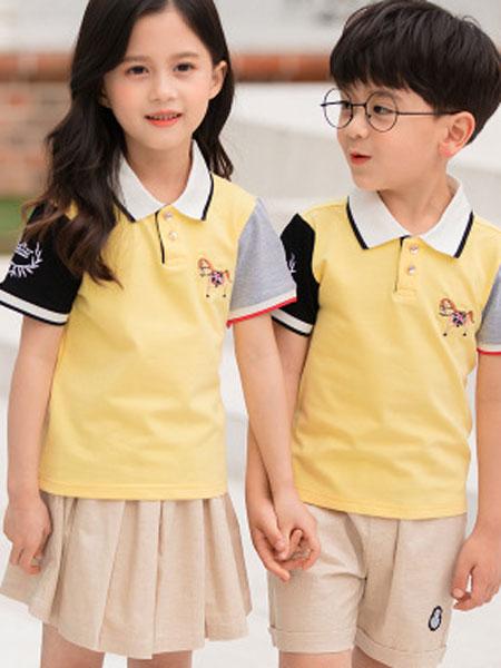 哈利欧童装品牌2019春夏班服短袖套装中小学生校服