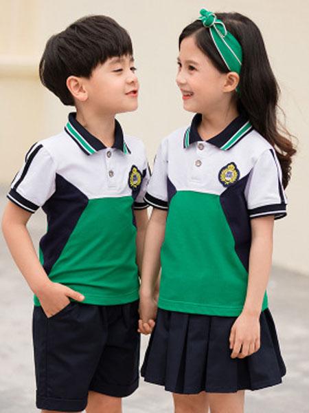 哈利欧童装品牌2019春夏polo衫运动儿童短袖套装校服