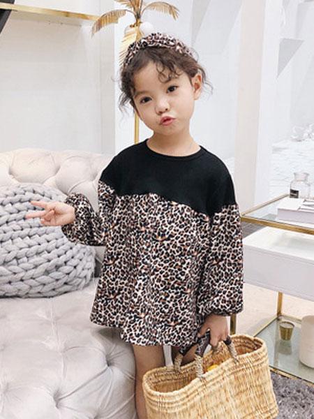 锦瑞祥童装品牌2019春夏长袖卫衣裙子儿童韩版纯棉裙子