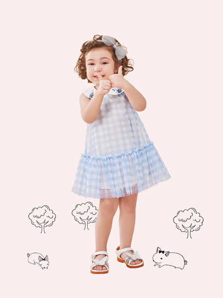铅笔俱乐部童装品牌2019春夏新款女童背心裙无袖连衣裙