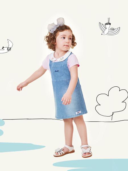 铅笔俱乐部童装品牌2019春夏女童背带牛仔裙连衣短裙