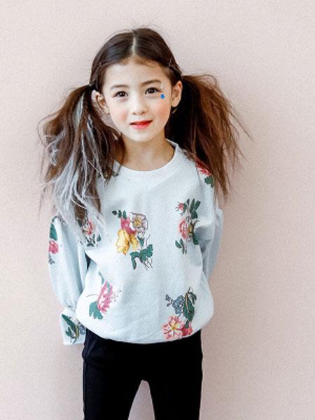 韩芽儿童装品牌2019春夏韩版喇叭袖花朵印花纯棉长袖卫衣