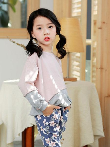 韩芽儿童装品牌2019春夏纯棉卫衣中小童韩版不对称拼接长袖上衣