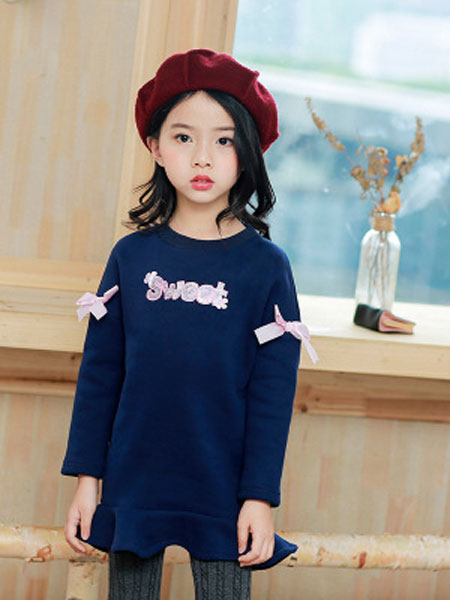 韩芽儿童装品牌2019春夏韩版可爱蝴蝶结加绒长袖公主裙